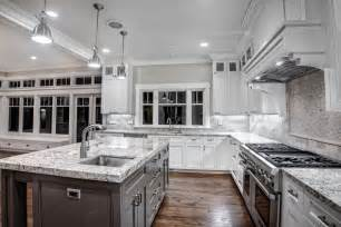 Kitchen Cabinets And Counters by White Cabinets Dark Granite Countertops