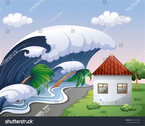 tsunami house music tsunami big waves over house illustration stock vector 347331248 shutterstock