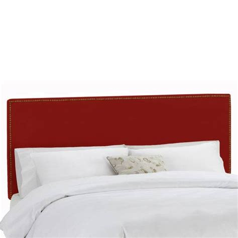 red headboard queen queen nail button border headboard in premier red skyline