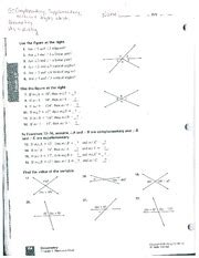 Complementary And Supplementary Angles Worksheet Answers by Complementary And Supplementary Angles Worksheet