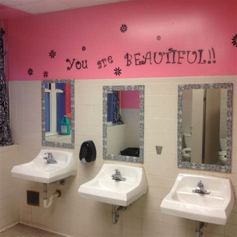girl has in school bathroom school mural cute bathroom idea school counseling ideas