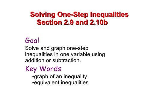 section 10b solving one step inequalities