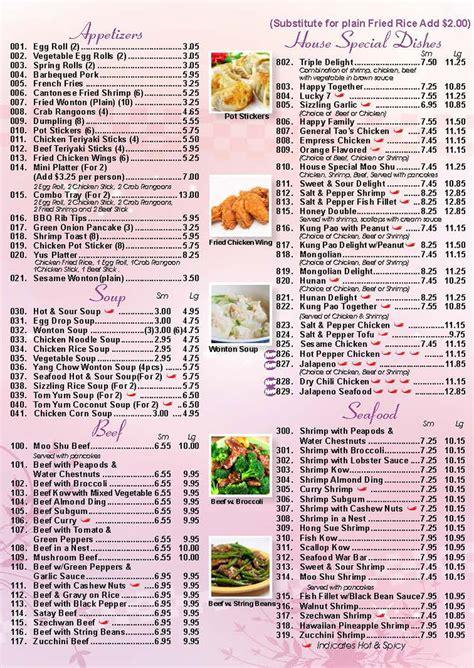 Zoës Kitchen Menu by Yu S Kitchen Restaurant Cantonese And Mandarin Cuisine