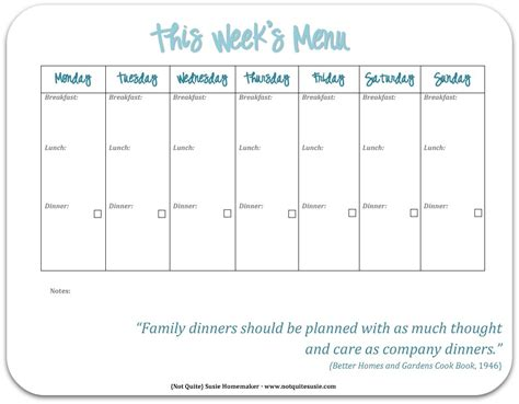 printable blank dinner menu planner free printable weekly meal planner not quite susie