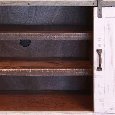 pueblo white barn door tv stand  solid wood  rustic