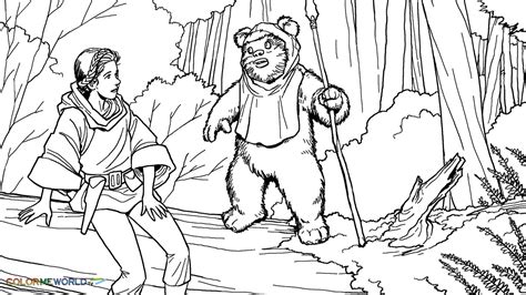 princess leia meet wicket coloring page wallpaper