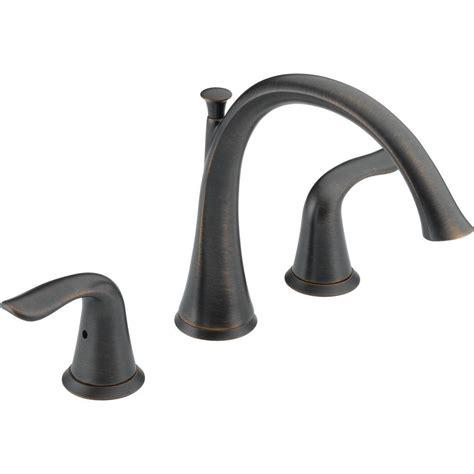 delta bathtubs delta lahara 2 handle deck mount roman tub faucet trim kit