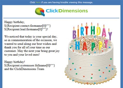 Creating Automated And Personalized Birthday Emails Canal Partners Llc Corporate Birthday Email Template
