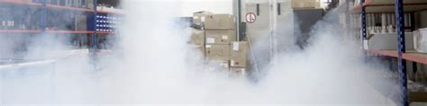 warehouse security concept smoke screen security fog