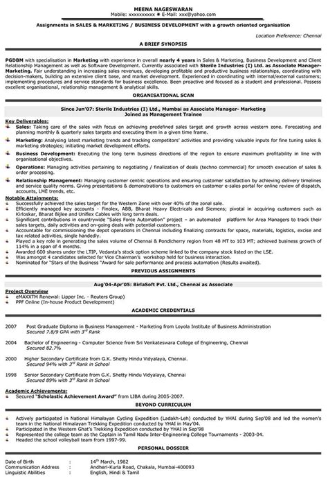 Resume Sles For Area Sales Manager resume sles for marketing in india 28 images area