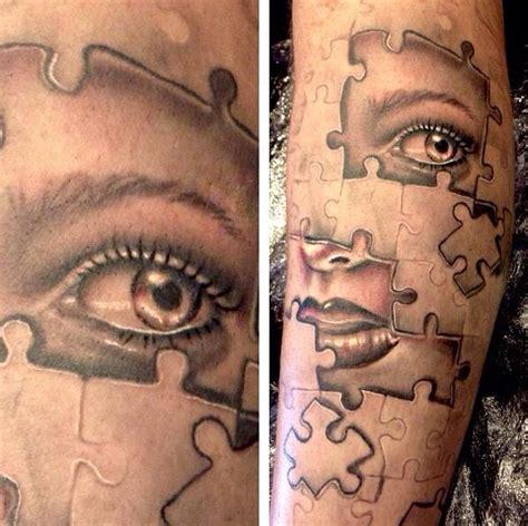 jigsaw tattoo design jigsaw pieces eye nose tattoos