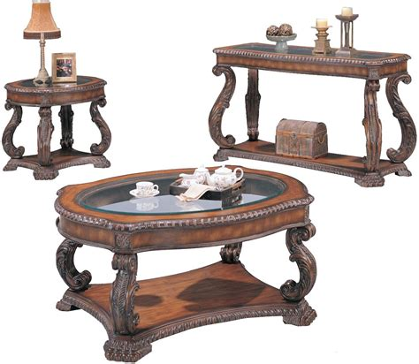 Traditional Table Ls For Living Room - carved traditional brown 3 living room table set