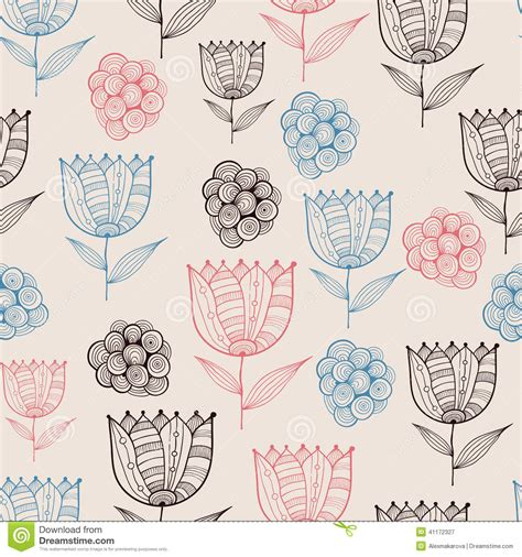 doodle pattern vector vector seamless doodle floral pattern with tulips stock