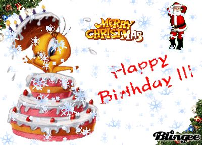 Happy Birthday And Merry Card Merry Christmas Happy Birthday Picture 119804990