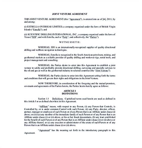 Joint Venture Agreement Template Joint Venture Template