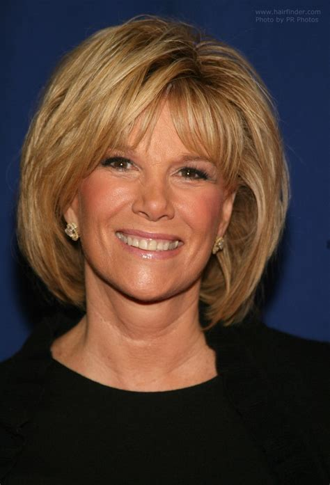 joan lunden s hairstyles joan lunden with her hair in a neck length semi bob