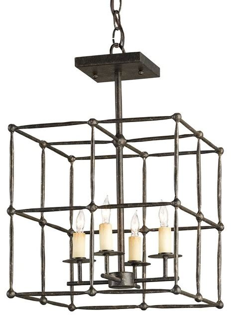 open grid hammered iron ceiling lantern flush mount