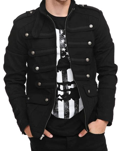 Jaket Varsity Giord Navy Leather black guard jacket steunk vintage pea coat
