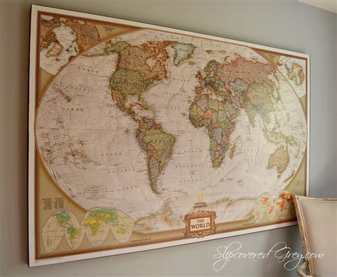 map wall decor world map wall slipcovered grey