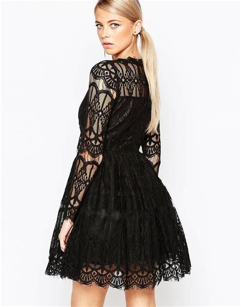 Deeja Lace P Da Premium boohoo boohoo premium lace skater dress at asos