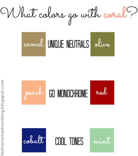 what color goes with coral fashion smashion hue coral