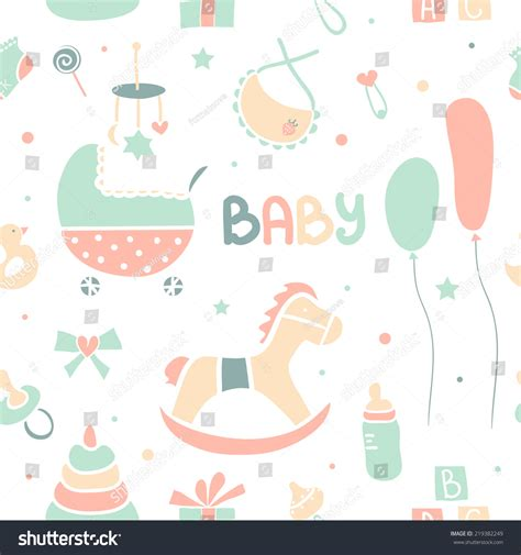 feeding pattern en francais vector pattern cute baby icons balloons stock vector