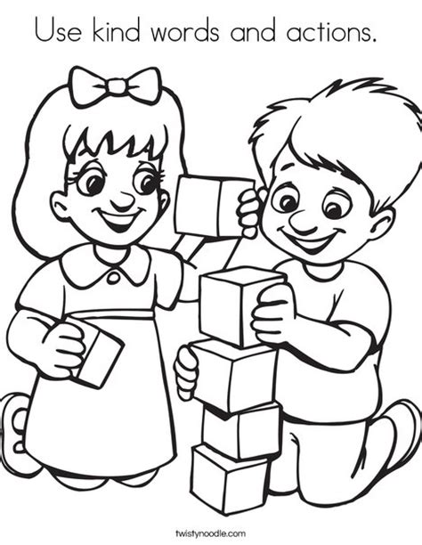 Kinder Coloring Pages by Use Words And Actions Coloring Page Twisty Noodle