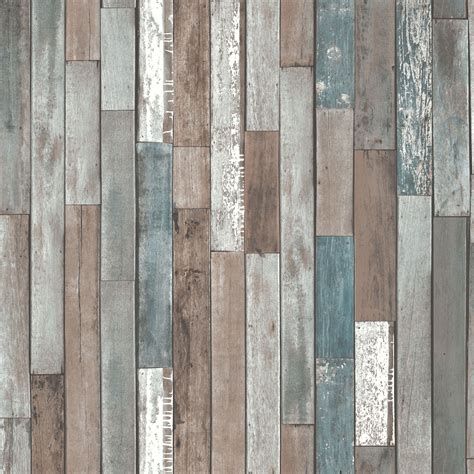 Wallpaper Salur 53cm X 10m 1 decor rustic effect wood planks wallpaper blue