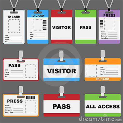 visitor id card template id card set stock image image 22061201