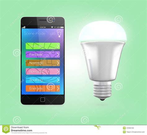 smartphone light control smartphone app control led lighting in green stock illustration image 41835184