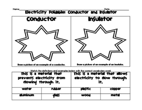 electrical conductors and insulators grade 6 electricity foldable and venn diagram conductors and insulators