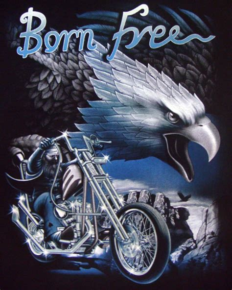 born free eagle chopper t shirt biker mens t shirts