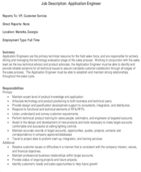 design engineer job responsibilities application engineer job description sle 7 exles