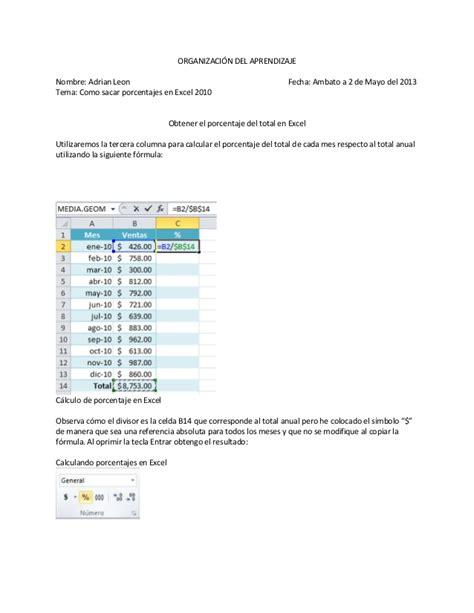 tutorial uso excel 2010 tutorial de porcentaje en excel 2010