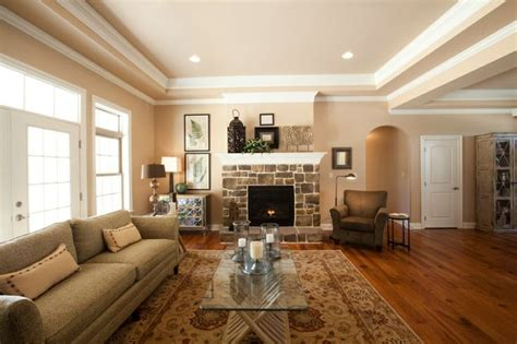 living room tray ceiling fireplace as the focal point in the room with veneer and a raised hearth hardwood