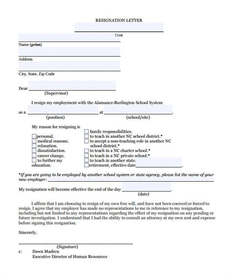 Teaching Assistant Letter Of Intent Resignation Letter 8 Documents In Pdf Word