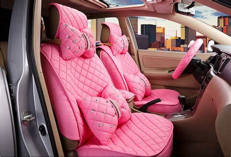 9865 New Luxy Pink Limited 2016 new superior quality luxury pink seat covers leather seating universal set car seat
