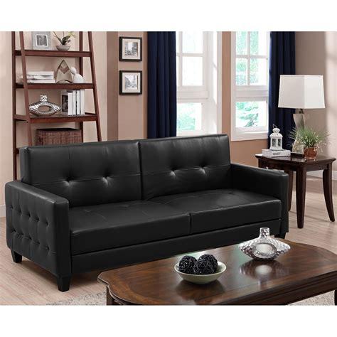 black convertible sofa futon chaise lounger black walmart