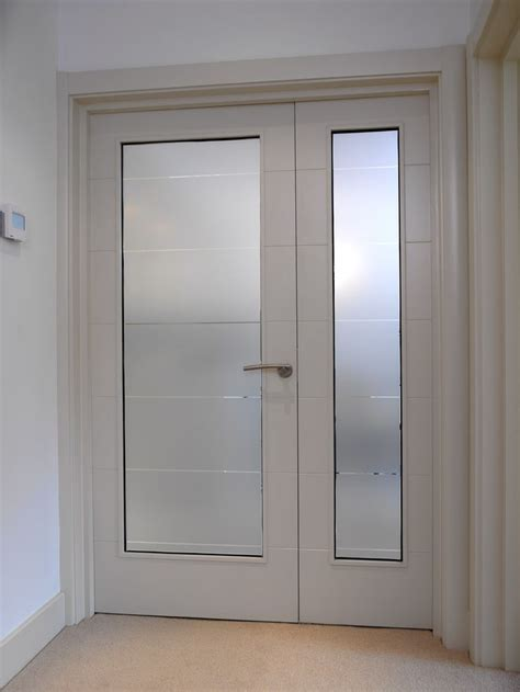 Bespoke Glass Doors Stunning White Glazed Doors With Frosted Glass And Horizontal Grooves Made Bespoke By Jb