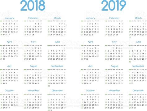 Thailand Calendrier 2018 New Year 2018 And 2019 Vector Calendar Modern Simple