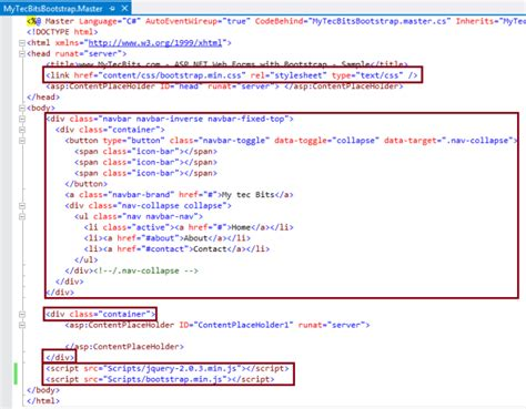 bootstrap templates for asp net master page bootstrap 3 0 0 with asp net web forms step by step