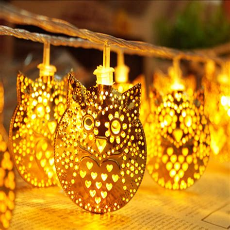 2m owl animal led string lights battery operated 20 golden
