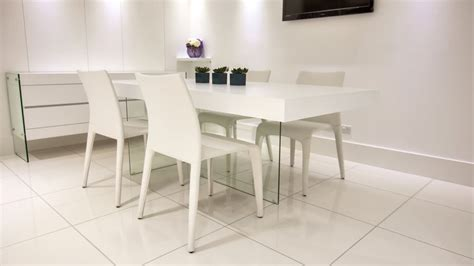 modern white oak dining table glass legs coloured faux