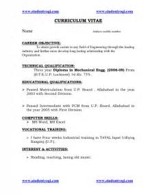 resume format for diploma mechanical engineers resume for freshers engineering students sles of resumes