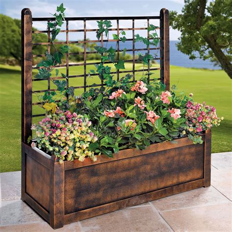 Decorative Plant Trellis Flower Box With Trellis Garden Planters Brylanehome