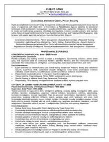Prisoner Officer Sle Resume by Corrections Officer Resume Exle Resume Exles And Resume