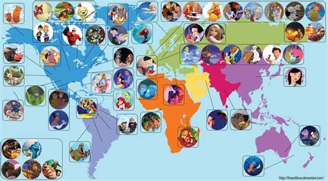 une carte localise chaque disney et pixar