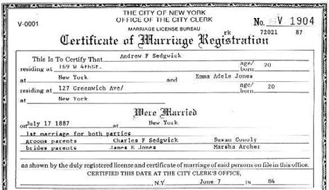 New York Marriage Certificate Records Sedgwick Org Charles Frances Sedgwick 1830 1894