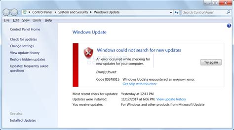 Update Microsoft windows update error 80248015 on windows 7 affecting many users