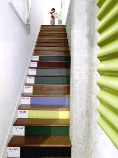 Painted Stairs Design Ideas Wooden Stairs With Painted Stripes Updating Interior Design In Creative Style